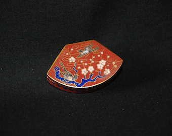 Birds Cloisonne enamel keepsake box - vintage metal chinese asian decorative gold tone trinket snuff box - tooth fairy medicine pill box