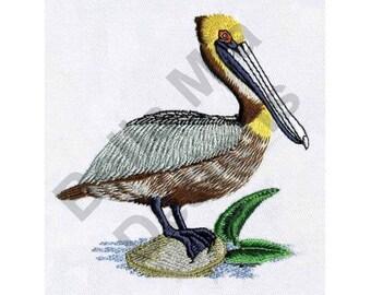 Bird - Machine Embroidery Design, Pelican, Brown Pelican