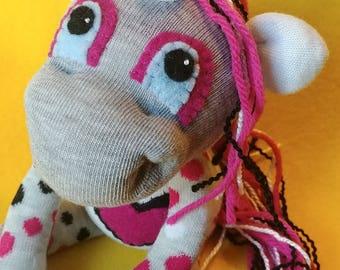 "Fleur - 11.25"" Sock Unicorn Plush - Handmade Plush Doll"