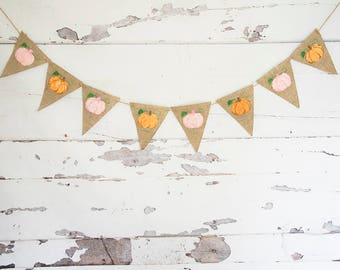 Fall Decor, Watercolor Pumpkins Banner, Pumpkins Garlands, Fall Birthday Party Decor, Thanksgiving Decor, Thanksgiving Burlap Banner,  B874