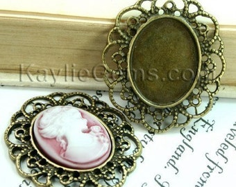 3 pcs Antique Brass Victorian Style Filigree Decorative Cameo Cabochon Frame, Setting, Pendant, Pins -FRM-2927AB