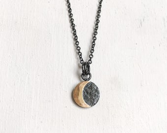 Small Solar Eclipse Necklace. Sterling Silver. Gold Fill. Nature Inspired. New Rustic. Eclipse Jewelry. Occult Jewelry. Eclipse 2017.