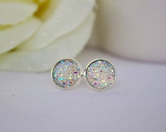 Crystal Stud Earrings - Silver Earring Studs - Druzy Stud Earrings - Trendy Earrings for Girls - Sparkly Earrings - Post Earrings