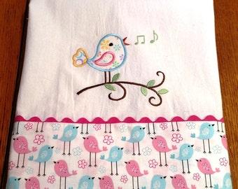 Embroidered dish towel, fabric & ric rac trim, flour sack towel, singing bird, kitchen towel, tea towel, gift for her, applique towel