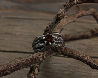 Unusual garnet branch engagement ring, Twisted branch ring, Unique tree bark engagement ring, Women's branch ring, Twig engagement ring