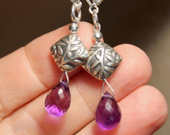 Amethyst briolette and sterling silver leaf and vine dangle pierced earrings by EvyDaywear, handmade one-of-a-kind designer jewelry