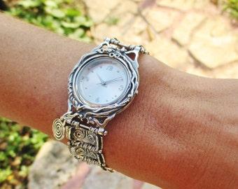 Sterling Silver Watch Bracelet, Spiral, Design by Porans, Artistic Jewelry, Israel