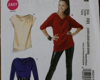 McCall's M6241 Women's Tunic/Top Sewing Pattern New\Uncut Size 18w-20w-22w-24w