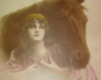 Lovely Hand Tinted Vintage/Antique Lady & Horse P ostcard
