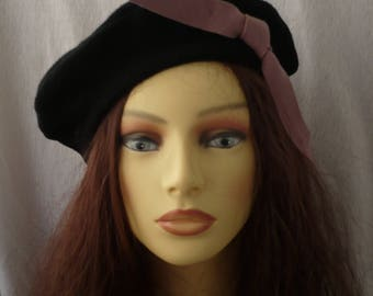 French beret, French style beret, Black beret, Wool beret, Womens beret, Girls beret, Handmade beret, Beanie, Vintage style beret