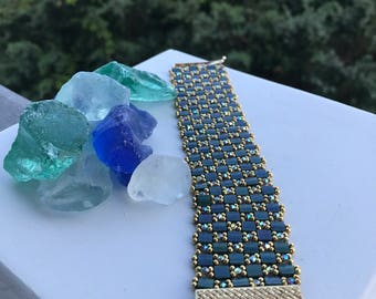 Japanese tila and Swarovski crystal Bracelet