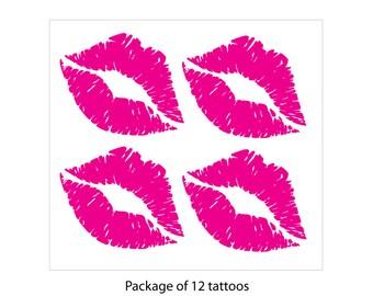 Lipstick Kiss Print Temporary Tattoos - 12 Pack
