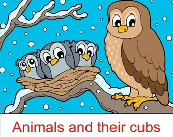 Animal and their cubs Coloring Book Set-digital download-19 Printable Coloring Page for children, kids boys & girls-PDF Instant Download