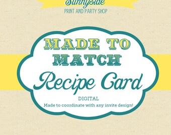 Sunnyside Digital Recipe Card File - 3x5 or 4x6 - Any Design Made to Match
