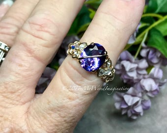 Alexandrite and Crystal Ring, Lab Created Color Change Gemstone, Wire Wrapped Ring in 14k GF or Sterling Silver Alexandrite, June Birthstone