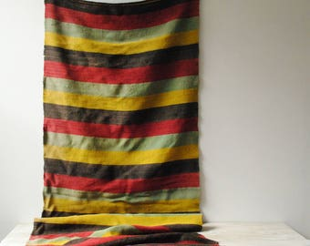 Vintage Runner Rug, Striped Runner, Flat Weave Wool Rug