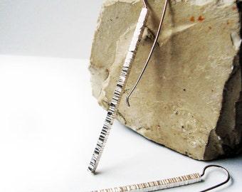 Stick Silver Earrings, Modern Long Textured Slim Sterling Silver Earrings, Polished Silver dangle