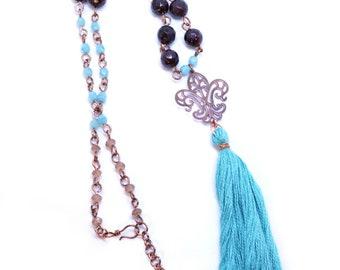 Copper Garnet Tassel Necklace