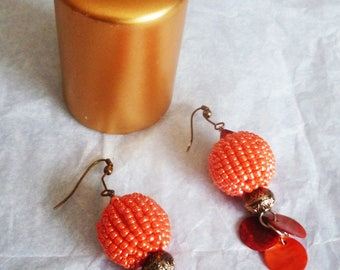 ethnic earrings in coral color beads