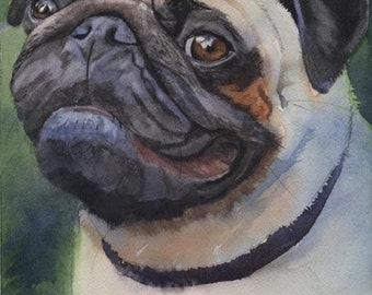 Pug Dog Art Print of my watercolor painting Poised Pug