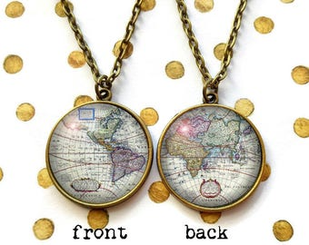 Fernweh definition necklace travel jewelry wanderlust double sided antique world map necklace vintage map jewelry vintage globe pendant travel gift backpacker travelling wandering gumiabroncs Choice Image
