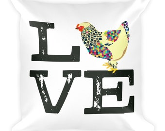 Chicken Love Square Pillow by Glendi Designs