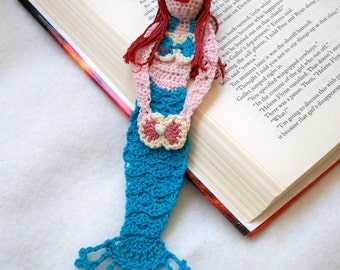 crochet mermaid bookmark, mermaid decoration, unique bookmarks, nursery decor, readers gift, fantasy bookmark, graduation gift, wall art