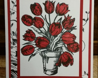 Handmade Red Tulip Greeting Card
