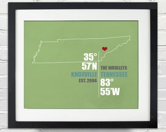 Tennessee Coordinate Wedding or Anniversary Gift, Any State or Country Map Print, Bride and Groom Names, Place and Date, Bridal Shower Gift