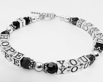 I HOPE YOU DANCE Bracelet .925 Sterling Silver & Swarovski Beads - Charms and Gold optional