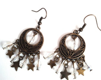 Handmade earrings with drops and stars