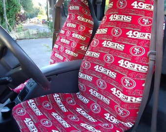 1 Set SF 49ers Print Seat Covers and 1 piece of Steering Wheel Cover  Custom Made