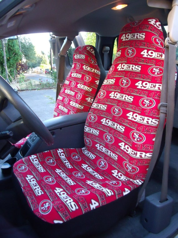 1 Set SF 49ers Print Seat Covers and 1 piece of Steering Wheel