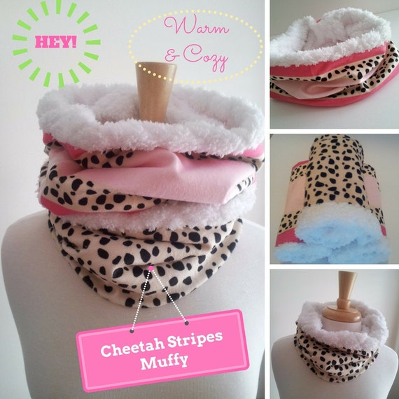 Ready to SHIP Infinity Scarf SHORT - MUFFY Leopard Cheetah Spots & Pink Stripes | Winter Holiday Gift / Women Fashion Accessory | Kids Scarf