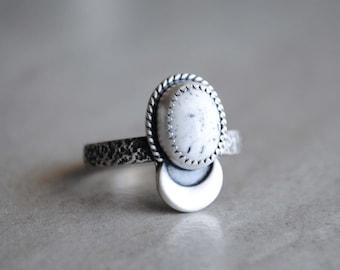 SIZE 8.5, White Buffalo Ring, White Buffalo Jewelry