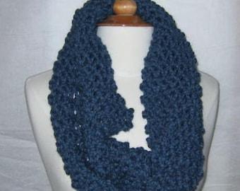 Soft and Plush Denim Blue Cowl Scarf Neck Warmer