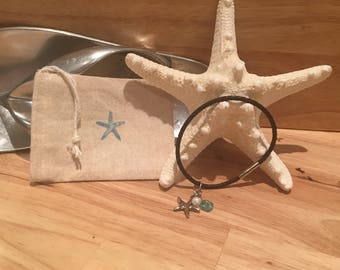 Beachy Starfish and Seaglass Corded Bracelet