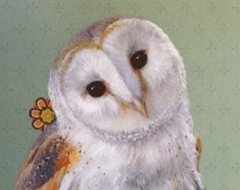 Barn Owl Painting, Owl Art, Barn Owl Print of Original Acrylic Painting