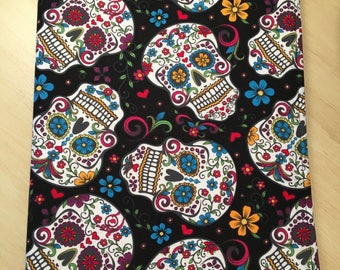 Large Sugar Skull Journal-Notebook Included-Refillable-Black-Red