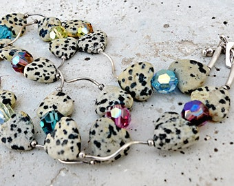 Sparkly Necklace.Dalmatian Stone Heart Beads & Multi Colorful Crystals.Fun and Unique. Rustic Boho Tribal Southwest Style Jewelry