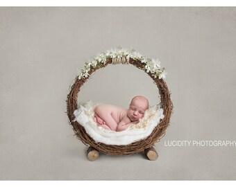 Digital prop/backdrop (woodland Basket Cream Floral)