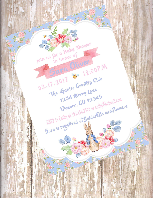 Peter Rabbit Watercolor floral Baby Shower Invitations Beatrix