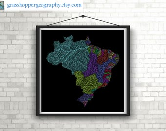 River basins of Brazil in rainbow colours (high resolution digital print) map print, wall art, poster map, home decor, wall decor, printable