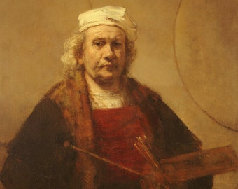 Self Portrait 1663 by Rembrandt - a Frameable Vintage 1953 Art Print