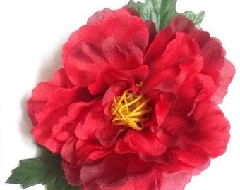 Marilyn - XL bright red peony hair flower