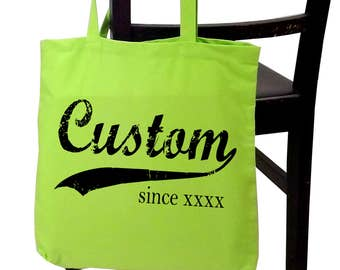 Custom tote bag, personalized, screen print cotton canvas tote, any name, any year