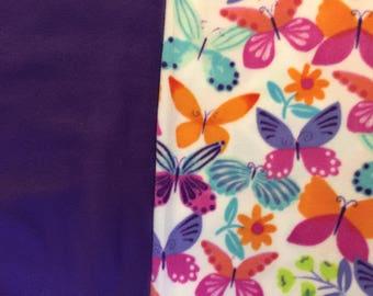 Fleece Tie Blanket-Bright Butterflies and Solid Purple, small, baby