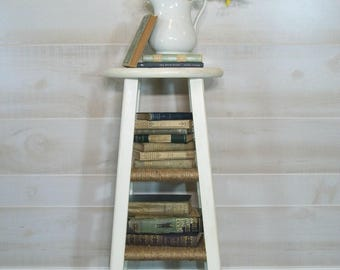 SOLD*** Repurposed Farmhouse Grain Sack Stripe Side Table