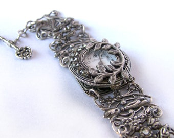 Unique Women watches vintage ladies watch for women gothic watch bracelet watch Silver Filigree watch vintage clothing women