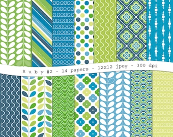 Ruby #2 - digital scrapbooking paper pack -14 printable jpeg papers in blue and green, 12x12, 300 dpi - instant download